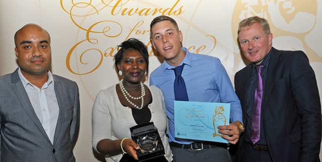 Colleague of the Year 2013 - Britta Ofori-Kuragu, with James Knight being presented with her award by Councillor Ogilvie and Dennis Holmes.