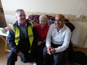 John (Community Meals); Dot (Beeston resident) and Councillor Ogilvie