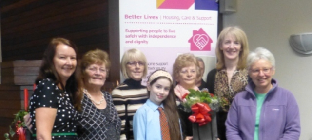 A family of carers - Mary Crawford and her daughters, sister and grand-daughter with fellow carer Pat and social worker Helen at the Shared Lives get-together this week.