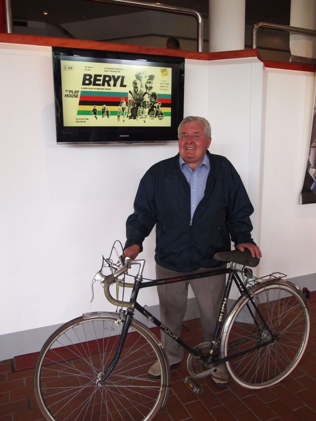 Peter with one of the bikes he has presented to be used at the West Yorkshire Playhouse by the actors onstage in Beryl from 30 Jun – 19 July
