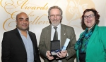 Leader of the year award winner Phil Schofield with Councillor Ogilvie and Sandie Keene