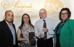 Colleague of the year winner was Eileen Storey. Pictured Eileen's husband and daughter with Councillor Ogilvie and Sandie Keene