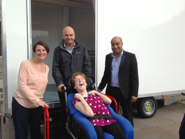 Andy with Cllrs. Yeadon and Ogilvie  with customer Claire Roberts