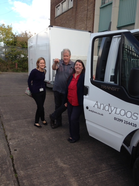 Carol Benson, Paul Foottit (events manager) and Rachel Smalley (access officer) with the new mobile loo