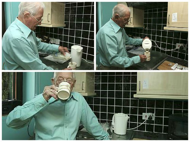 George enjoys a cup of tea