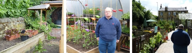 Photograph of Gordon, from the Learning Disabilities Group, in the garden and poly tunnel.