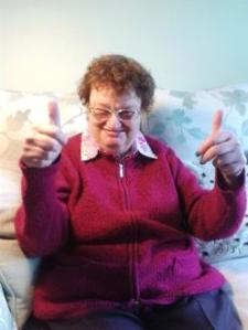 "Christine gives a big ""thumbs up""."